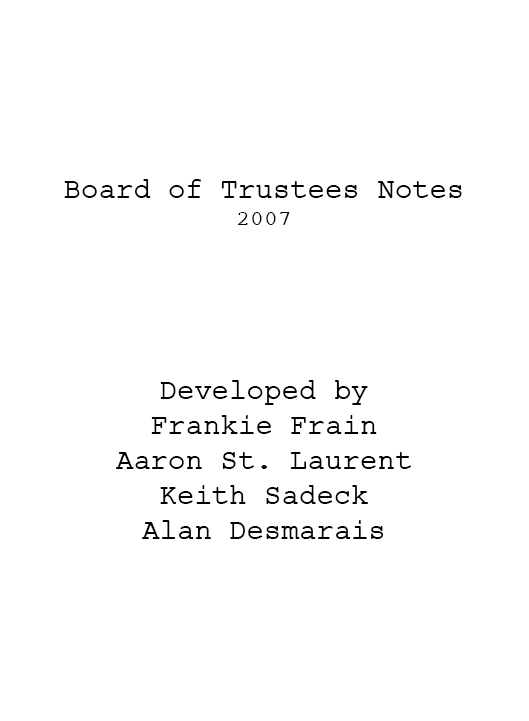 Board of Trustees (Abandoned Notes)